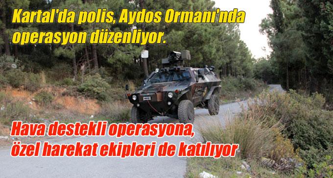 Kartal'da polis, Aydos Ormanı'nda operasyon düzenliyor.