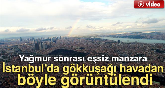 İstanbul semalarında beliren gökkuşağının eşsiz manzarası