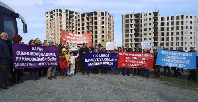 Mağdur imamlar ve yakınları inşaat sahası önünde eylem yaptılar