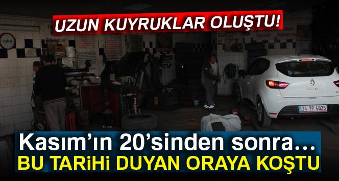 İstanbul'da zorunlu kar lastiği uyarısı, lastikçilerde uzun kuyruk oluşturdu