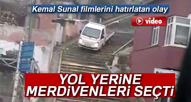 Kadıköy'de bir kamyonet sürücüsünün ilginç yol seçimi