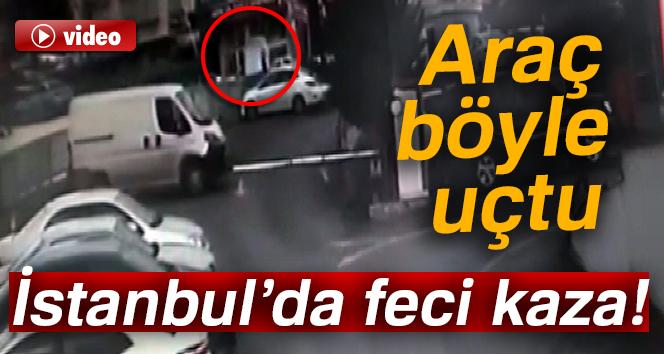 Kontrolden çıkan araç 5 metreden aşağıya düştü