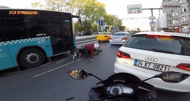 Motosikletli ölümden kıl payı böyle kurtuldu