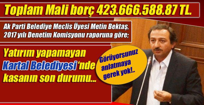 Ak Partili Bektaş, Kartal Belediyesi borç batağında!