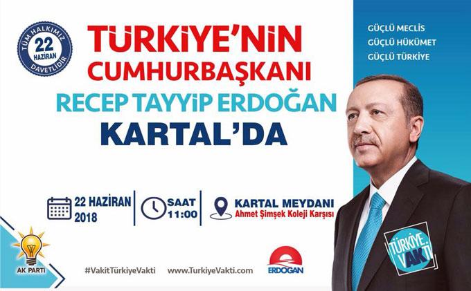 Cumhurbaşkanı Erdoğan Cuma günü Kartal'da