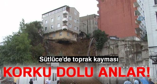 Sütlüce'de toprak kayması, apartman yıkılmak üzere