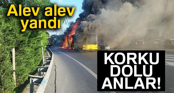 Belediye otobüsünde korkutan yangın