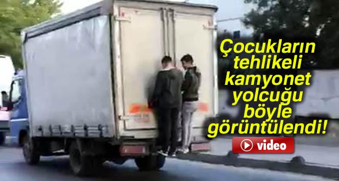 Çocukların tehlikeli kamyonet yolcuğu kamerada