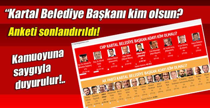 """""""Kartal Belediye Başkanı kim olsun? Anketi sonlandırıldı!"""