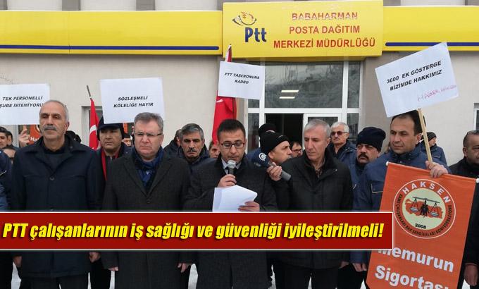 PTT çalışanlarının iş sağlığı ve güvenliği iyileştirilmeli!