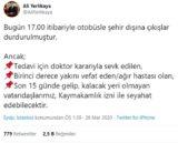 """İSTANBUL VALİSİ ALİ YERLİKAYA, SABAH SAATLERİNDE PANDEMİ KURULUNUN TOPLANMASININ ARDINDAN SOSYAL MEDYA ÜZERİNDEN AÇIKLAMADA BULUNDU. VALİ YERLİKAYA YAPTIĞI PAYLAŞIMDA, """"BUGÜN 17.00 İTİBARİYLE OTOBÜSLE ŞEHİR DIŞINA ÇIKIŞLAR DURDURULMUŞTUR"""" DEDİ. (İHA/İSTANBUL-İHA) İstanbul Valisi Ali Yerlikaya, sabah saatlerinde pandemi kurulunun toplanmasının ardından sosyal medya üzerinden açıklamada bulundu. Vali Yerlikaya yaptığı paylaşımda, """"Bugün 17.00 itibariyle otobüsle şehir dışına çıkışlar durdurulmuştur"""" dedi."""